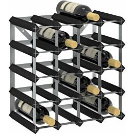 Viinipulloteline 20 pullolle musta täysi mänty_1