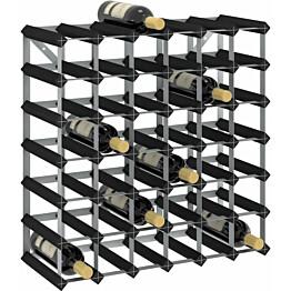 Viinipulloteline 42 pullolle musta täysi mänty_1
