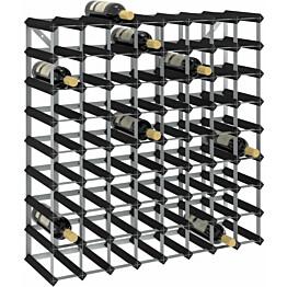 Viinipulloteline 72 pullolle musta täysi mänty_1