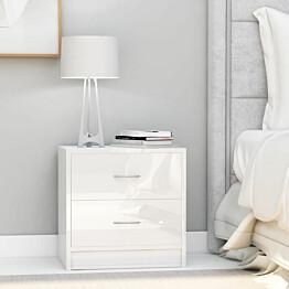 Yöpöydät 2 kpl korkeakiilto valkoinen 40x30x40 cm lastulevy_1
