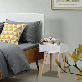 Yöpöydät 2 kpl mänty 40x30x61 cm valkoinen_1
