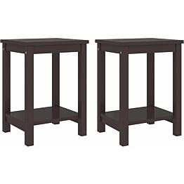 Yöpöydät 2 kpl tummanruskea 35x30x47 cm täysi mänty_1
