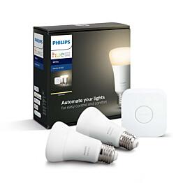 Aloituspakkaus Philips Hue W 2kpl älylamppu (E27 9W) + silta