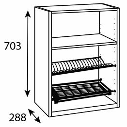 Astiankuivauskaapin runko Ideal Keittiöt 600x704x288 mm + alumiinilista 1 hylly ja ritilät