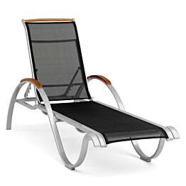 Aurinkotuoli Nydala 167x61cm säädettävä selkänoja musta/alumiini