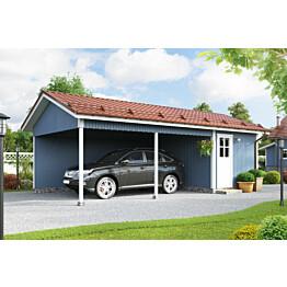 Autokatos KP10 yhdelle autolle + varasto kaksi avointa sivua varasto päädyssä