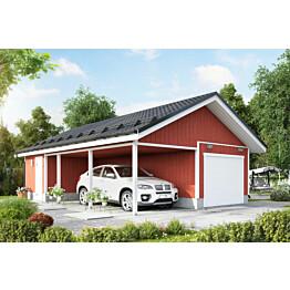 Autotalli KP35 autokatoksella + varasto päädyssä kaksi autopaikkaa