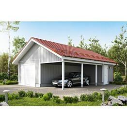 Autotalli KP39 autokatoksella + varasto päädyssä kaksi autopaikkaa