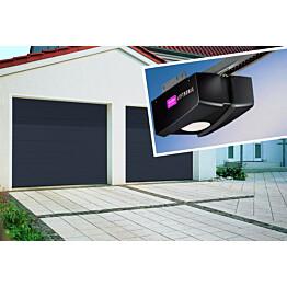 Autotallin nosto-ovi Isomatic Nordic 2500x2000mm, vaakauritettu + avaaja Liftronic 500 tummanharmaa