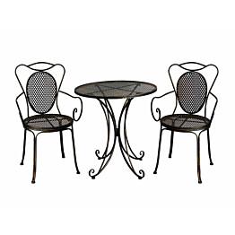 Bistro-setti Chic Garden 3 pöytä + 2 tuolia, musta