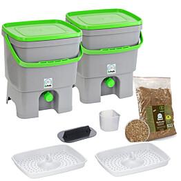 Bokashi keittiökompostori BioProffa Organko tuplapakkaus 16 l harmaa/vihreä