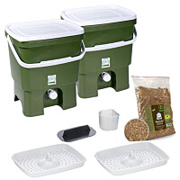 Bokashi keittiökompostori BioProffa Organko tuplapakkaus 16 l oliivinvihreä/valkoinen