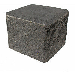 Citymuurikivi lohko puolikas musta 180x180x150 mm
