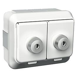 Exxactin valkoinen lukittava 2S/16A/IP44 PPJ 2X -pistorasia 2400447