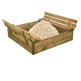 Hiekkalaatikko Nordic Play, 120x120cm, kanneksi taittuvat penkit, sis. 240kg hiekkaa