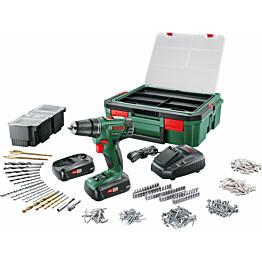 Akkuporakone Bosch PSR 1800 LI-2 2x1,5 Ah Systembox + 241 tarviketta