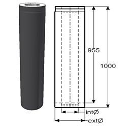 Hormijakso Schiedel Permeter Smooth 150mm, musta, 1000mm