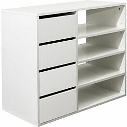 Hylly Johanna valkoinen 4 hyllyä + 4 laatikkoa