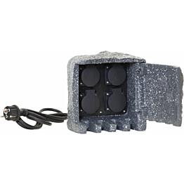 Jatkojohto ulkokäyttöön Star Trading Plugge, 4-osainen, 200x200x200mm, harmaa