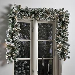 Jouluköynnös Nordic Winter, 270cm, LED-valoilla ja lumella