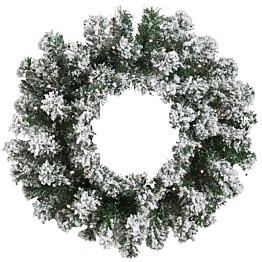 Joulukranssi Nordic Winter, Ø45cm, LED-valoilla ja lumella