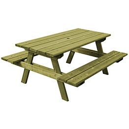 Vihreä pöytä/penkkiyhdistelmä Aleksi N102 on 1800 mm pituinen