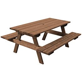 Ruskea pöytä/penkkiyhdistelmä Aleksi N102R on 1800 mm pituinen