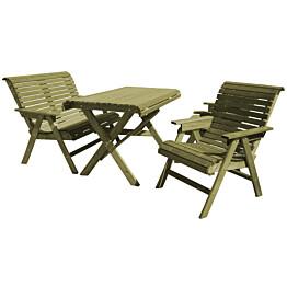Vihreä Lemmikki-kalusteryhmä N109 sisältää pöydän, penkin ja kaksi tuolia