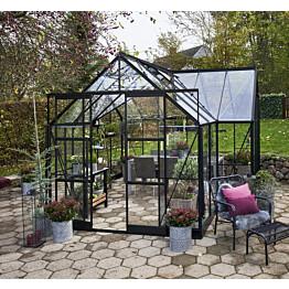 Kasvihuone Halls Garden Room 12,9 m² turvalaseilla musta alumiinirunko