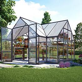 Kasvihuone/Viherhuone Palram Victoria T-Shape, 10,5 m² kennolevyllä