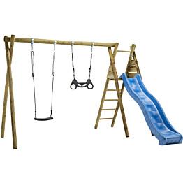 Keinuteline Nordic Play, maahan kaivettava, sis. keinuistuin, trapetsikeinu, keinukiinnikket ja sininen liukumäki