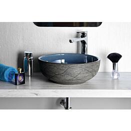 Keraaminen pesuallas Interia Priori PI020 pöytätasolle koristemaalattu sininen/harmaa 420 X 420 X 150 mm