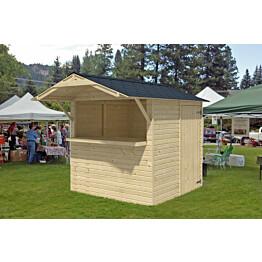 Kioski 2000x2030 mm 4,06 m² harjakattoinen puuvalmis ulkona