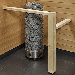 Kiukaan suojakaide/jalkatuki Sun Sauna Log L-malli kuusi