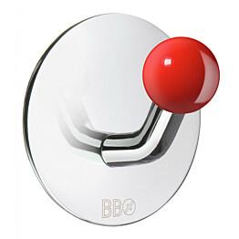 Koukku Smedbo B design tarrakiinnitteinen kiiltävä/punainen nuppi