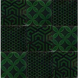 Kuviolaatta Kymppi-Lattiat History Jugend Antique Secor Green Mix 15x15 cm tummanvihreä