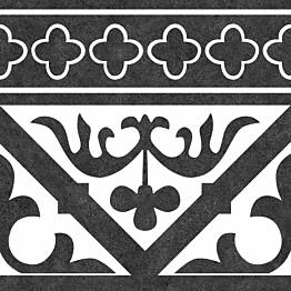 Kuviolaatta Kymppi-Lattiat History Jugend Oldenburg Black Cenefa himmeä 250x250 mm