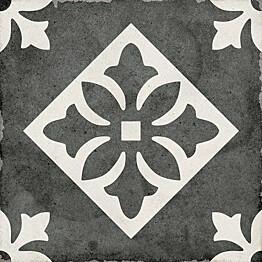 Kuviolaatta Pukkila Art Nouveau Padua Black himmeä sileä 200x200 mm