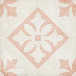 Kuviolaatta Pukkila Art Nouveau Padua Pink himmeä sileä 200x200 mm