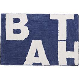 Kylpyhuonematto Pisla Sealskin Littera 60x90 cm sininen tekstillä