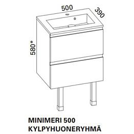 Kylpyhuoneryhmä Otsoson Minimeri 500 500x390 mm harmaa