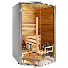 Kylpyhuonesauna Harvia Sirius Formula 1140x1140mm eri materiaaleja lämpökäsitelty panelointi kulmamalli