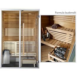 Kylpyhuonesauna Harvia Sirius Formula 1400x1240mm eri materiaaleja lämpökäsitelty panelointi