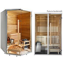 Kylpyhuonesauna Harvia Sirius Futura 1240x1240mm eri materiaaleja lämpökäsitelty panelointi kulmamalli
