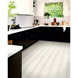 Laminaatti Original Excellence Modern Lauta 4V Sensation Valkoharjattu Mänty lauta keittiössä