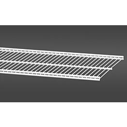 Valkoinen, 60,7 cm leveä lankahylly 30 on säilytysjärjestelmän suosittu ja monikäyttöinen perusosa