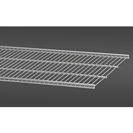 Platinan värinen, 60,7 cm leveä lankahylly 40 on säilytysjärjestelmän suosittu ja monikäyttöinen perusosa