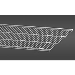Platinan värinen, 60,7 cm leveä lankahylly 50 on säilytysjärjestelmän suosittu ja monikäyttöinen perusosa