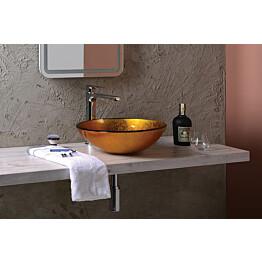 Lasinen malja-allas Interia Ago pöytätasolle kulta 420 X 420 X 140 mm