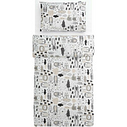 Lasten pussilakanasetti Familon Kaverit Organic, 120x160cm, valkoinen/kaakao